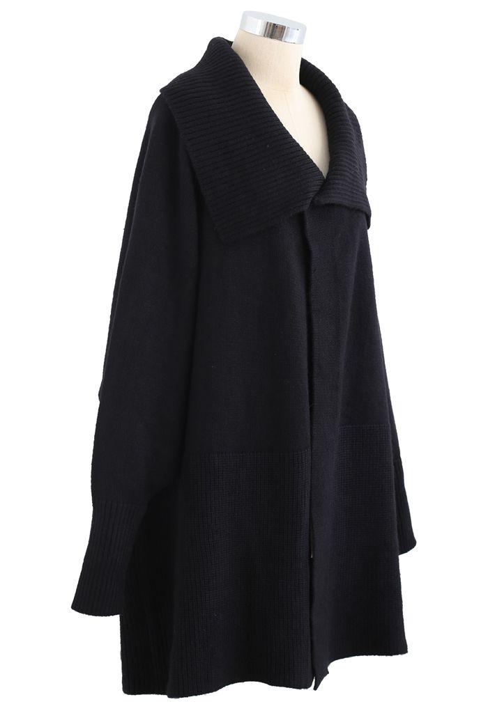 Wide Lapel Batwing Sleeves Longline Knit Cardigan in Black
