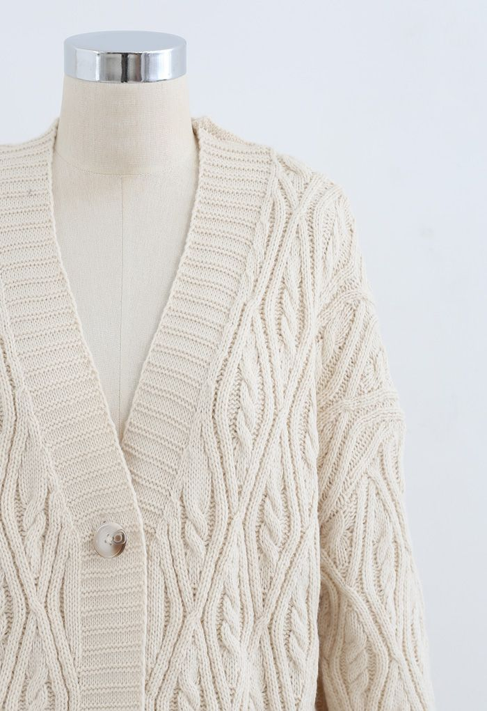 Button Down Longline Cable Knit Cardigan