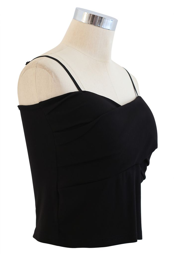 Cross Wrap Fitted Cami Top in Black