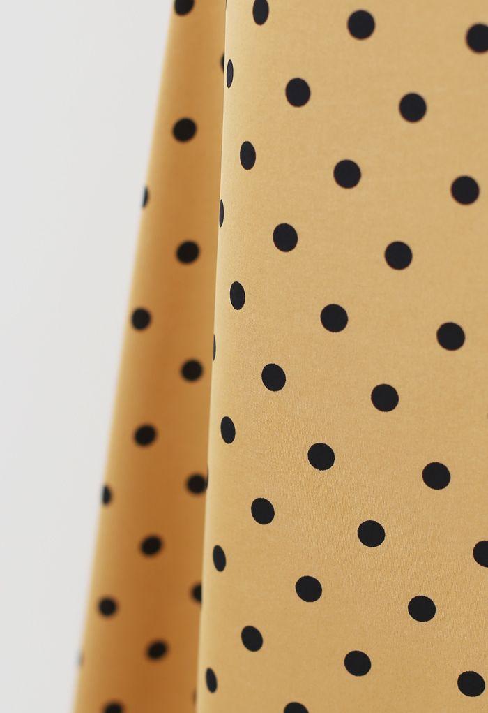 Polka Dots Midi Slip Skirt in Gold