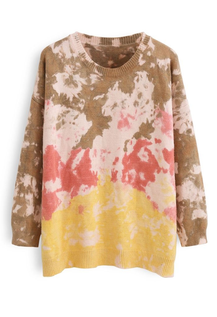 Tie-Dye Ribbed Knit Loose Fit Sweater in Pink