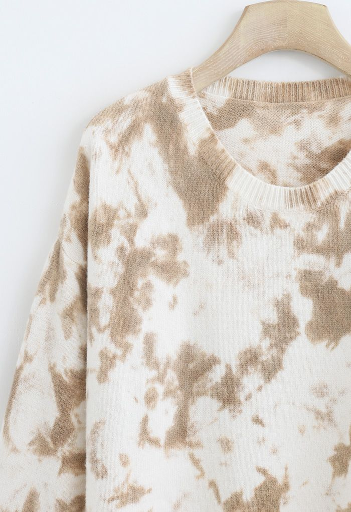 Tie-Dye Ribbed Knit Loose Fit Sweater in Tan