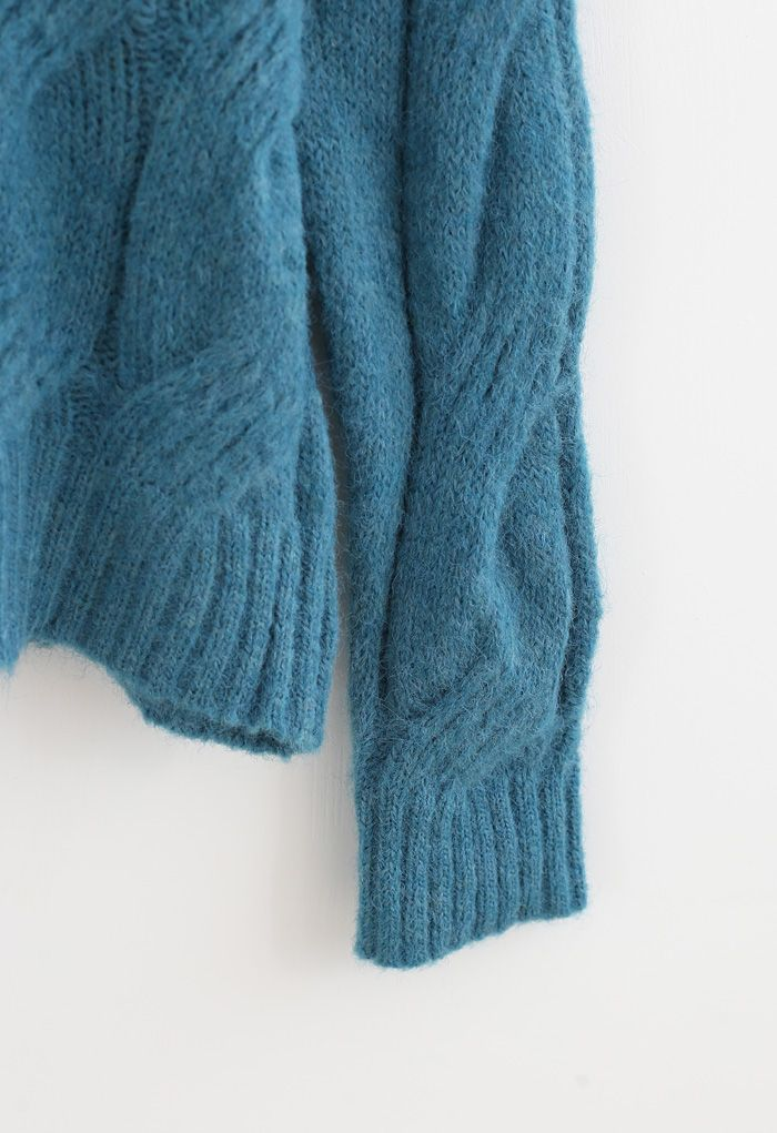 Fuzzy Crew Neck Cable Knit Sweater in Teal