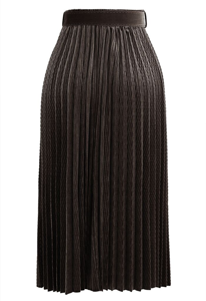 Belted Velvet Full Pleated Midi Skirt in Brown