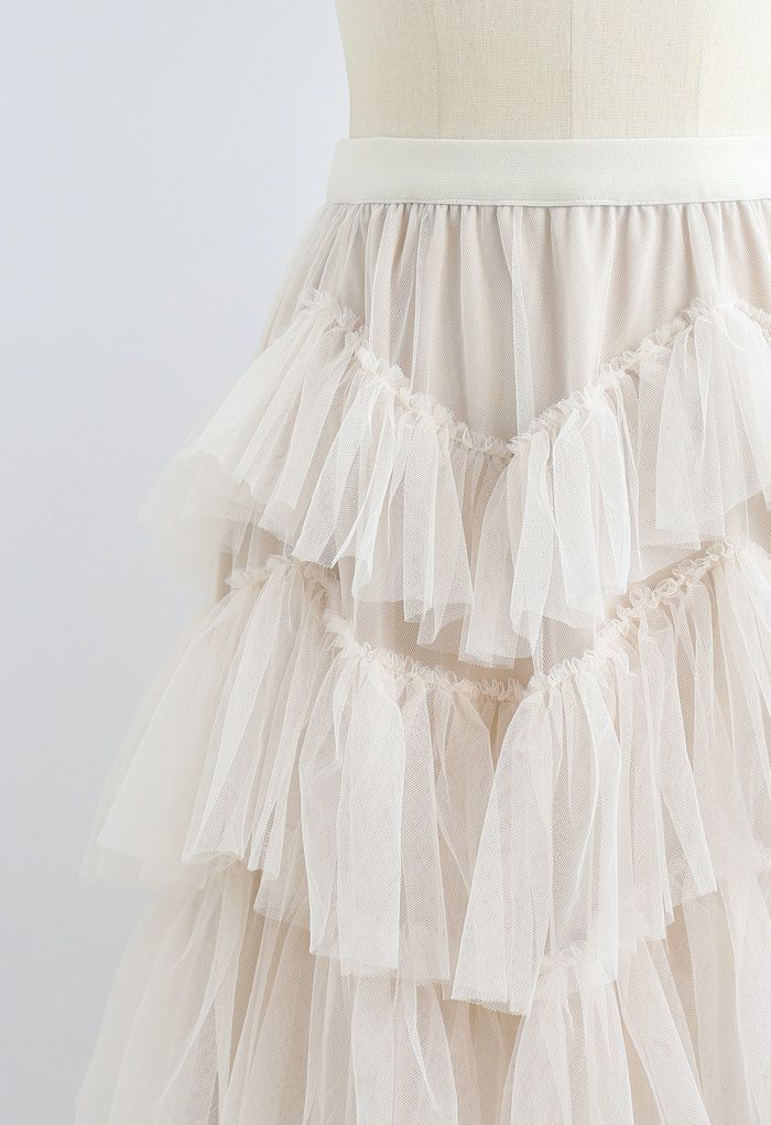 Ruffle Tiered Tulle Mesh Maxi Skirt in Cream