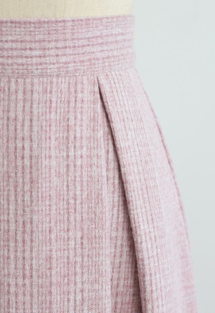 Flare Pleated Wool-Blend Skirt in Pink