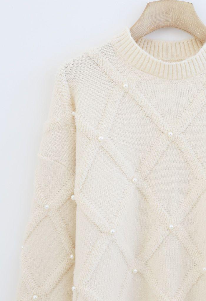 Diamond Pearls Trim Fuzzy Knit Sweater in Cream