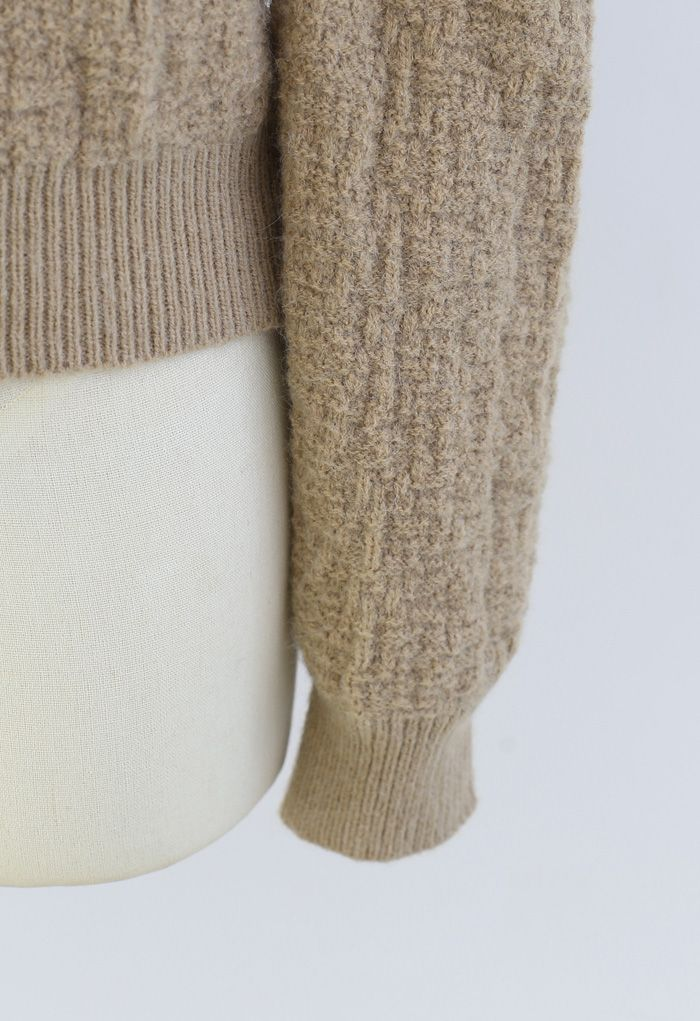 Puff-Shoulder Texture Knit Sweater in Tan