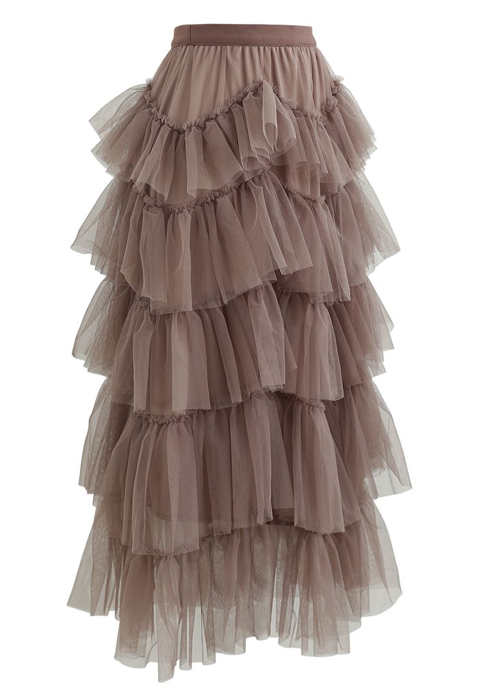 Ruffle Tiered Tulle Mesh Maxi Skirt in Taupe