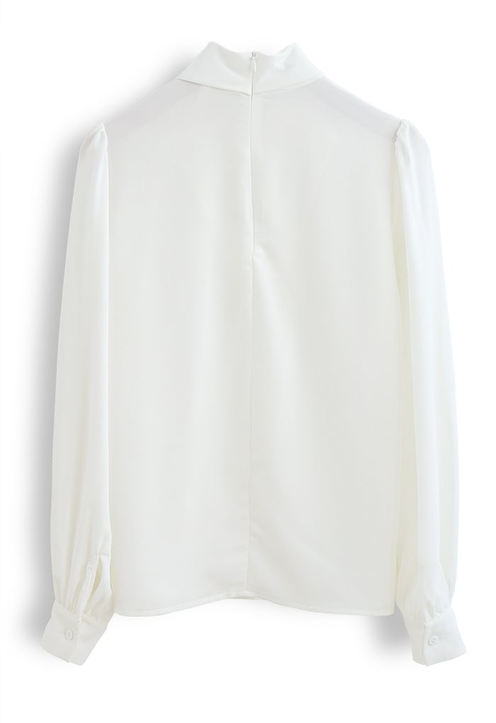 Twist Cutout Neck Satin Top in White