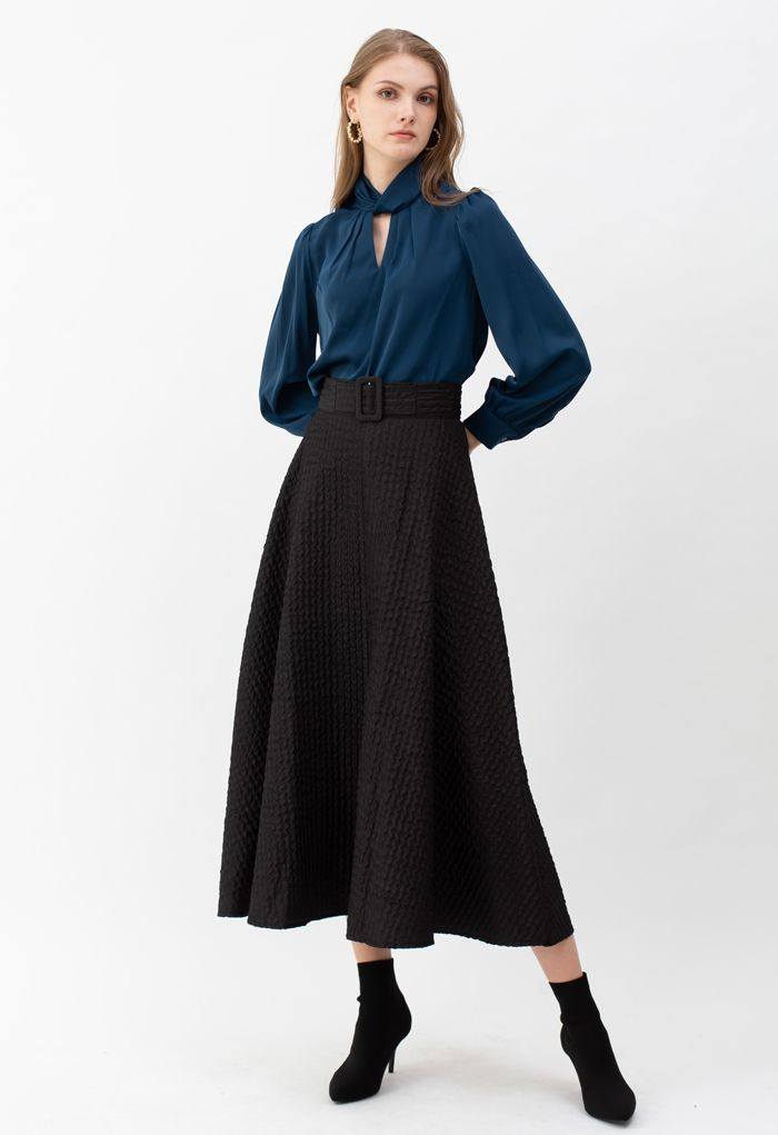 Ripple Embossed A-Line Maxi Skirt in Black