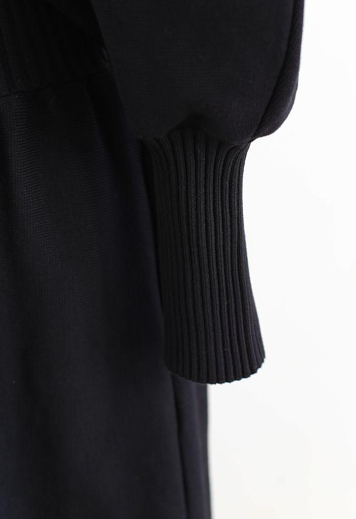 Off-Shoulder Dolman Sleeves Knit Dress in Black