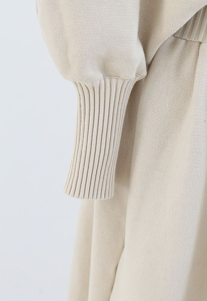 Off-Shoulder Dolman Sleeves Knit Dress in Light Tan