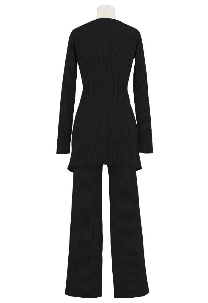 Cross Wrap Rib Knit Longline Sweater and Pants Set in Black