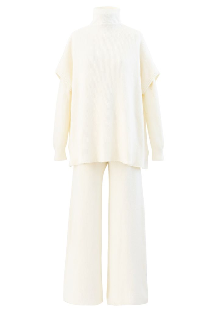 3 Packs Soft Touch Knit Top and Pants Set in White