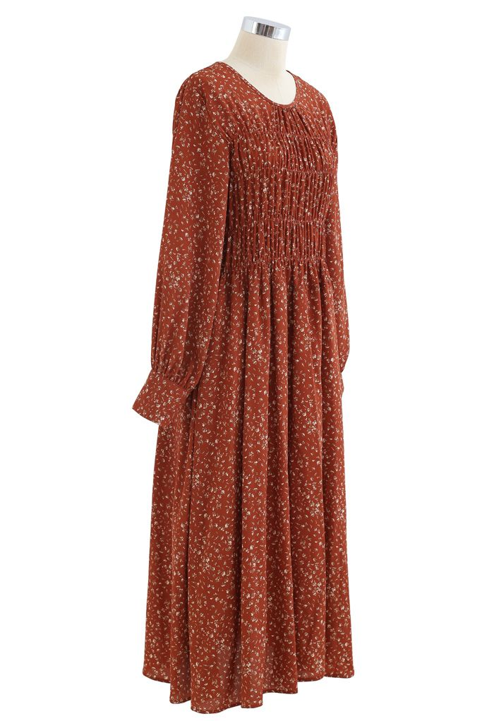 Bouquet Floret Shirred Chiffon Dress in Rust Red