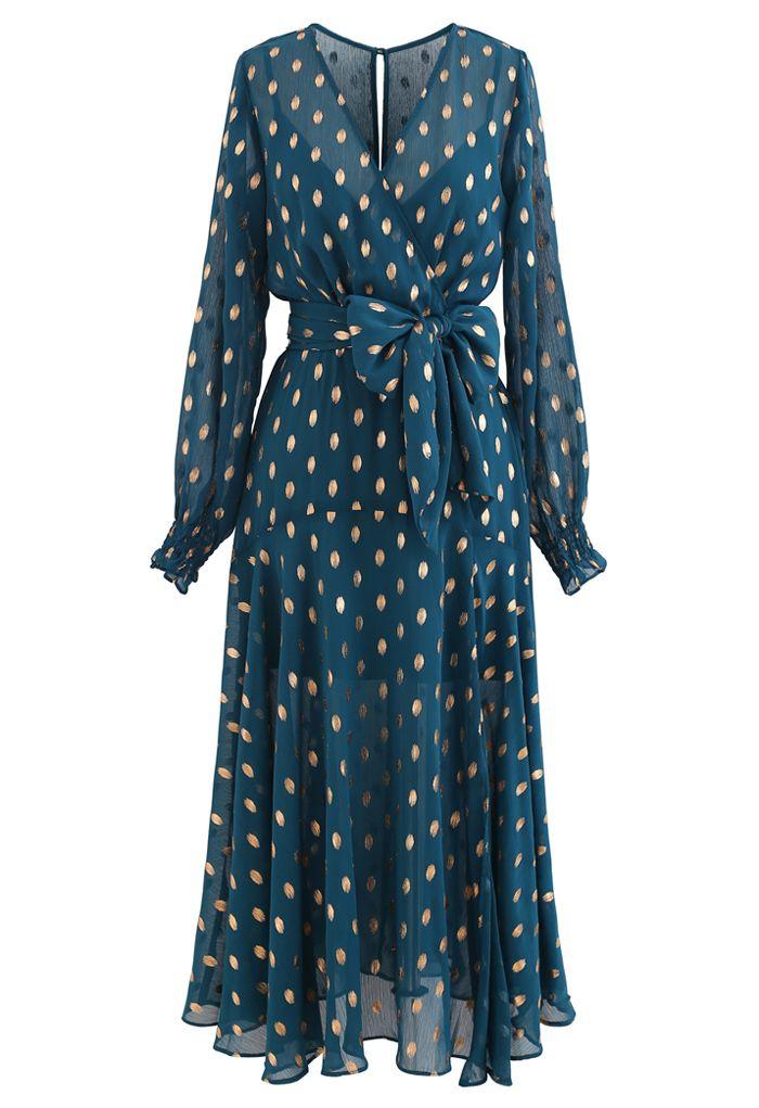 Oval Dots Semi-Sheer Split Wrap Dress in Emerald