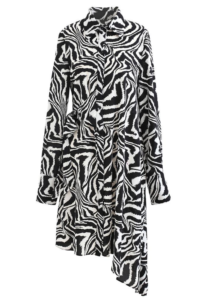 Zebra Print Knot Side Asymmetric Shirt Dress