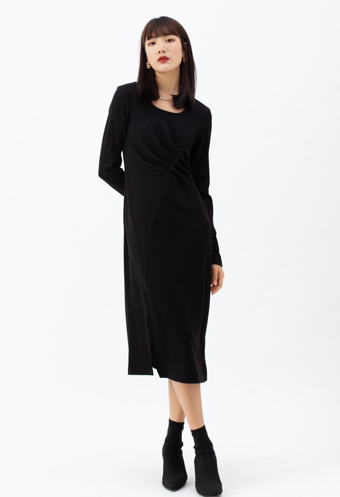 Chain Neck Ruched Split Knit Dress in Black