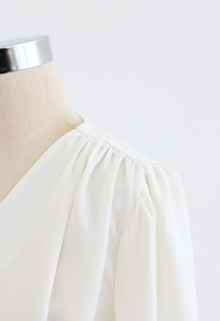 O-Ring Flap Satin Top in White