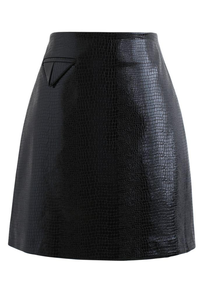 Crocodile Faux Leather Mini Skirt in Black