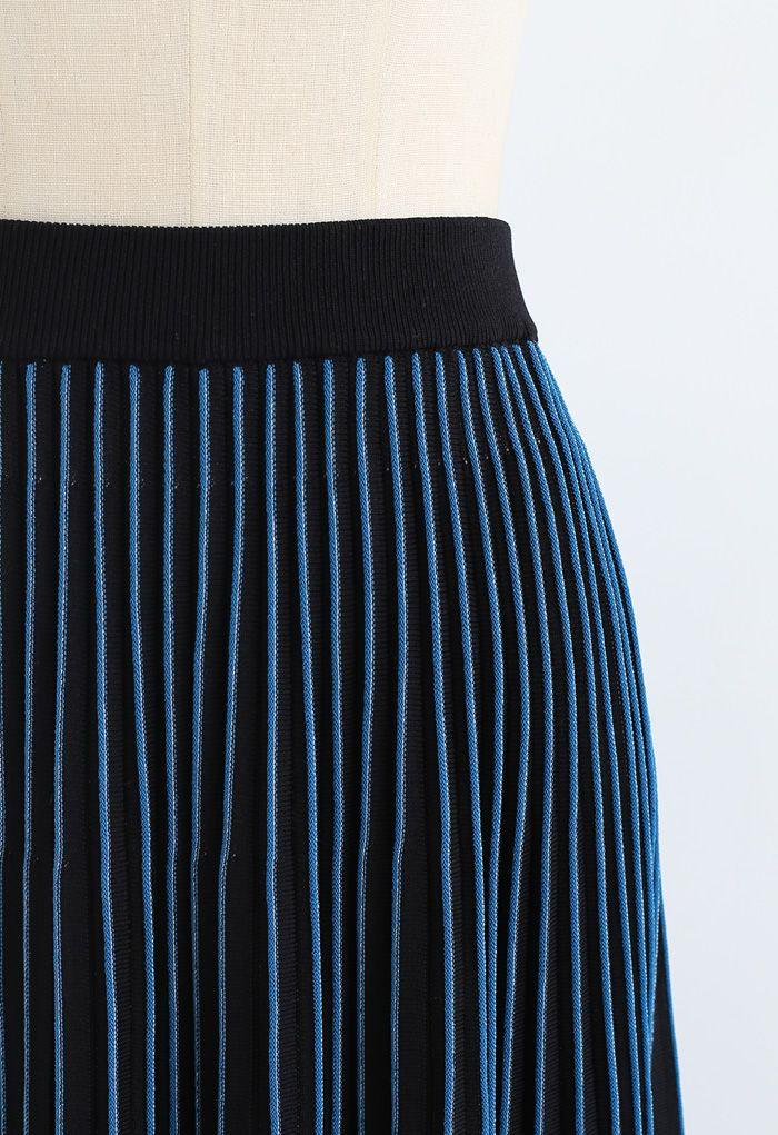 Playing Piano Striped Midi Knit Skirt