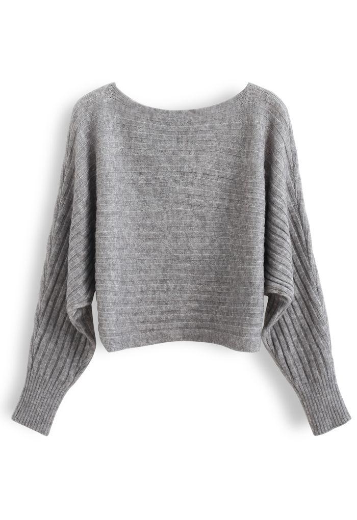 Fuzzy Boat Neck Crop Knit Sweater in Grey