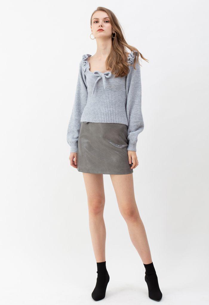 Crocodile Faux Leather Mini Skirt in Grey
