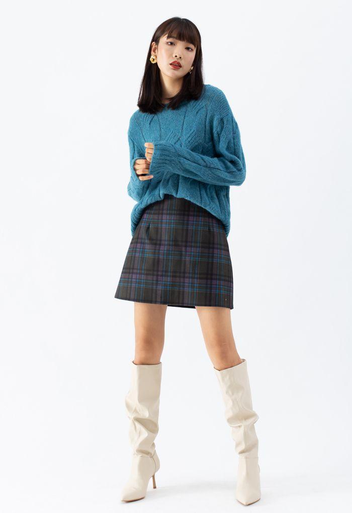 Wool-Blend Check Print Mini Skirt in Plum