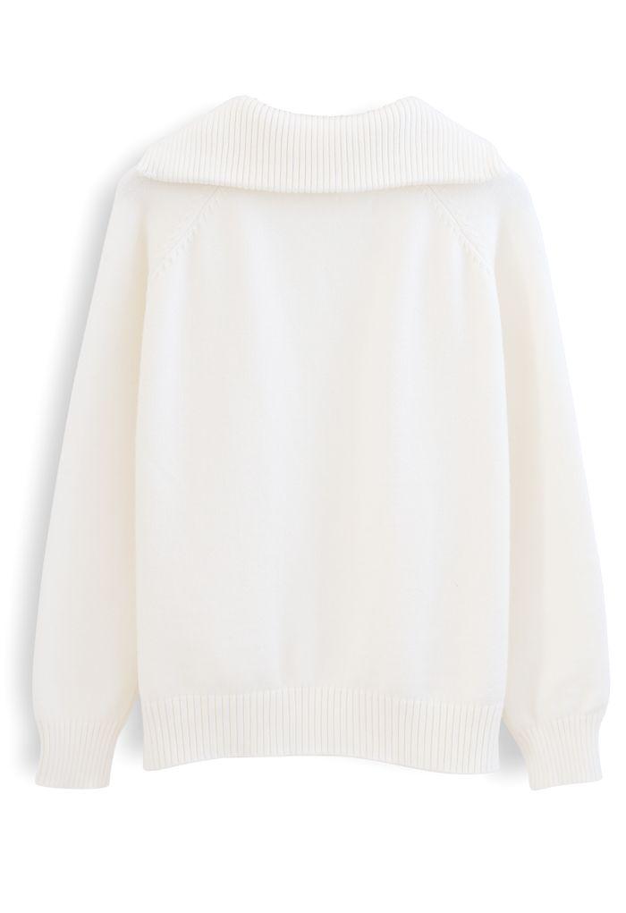 V-Neck Flap Collar Pocket Sweater in White