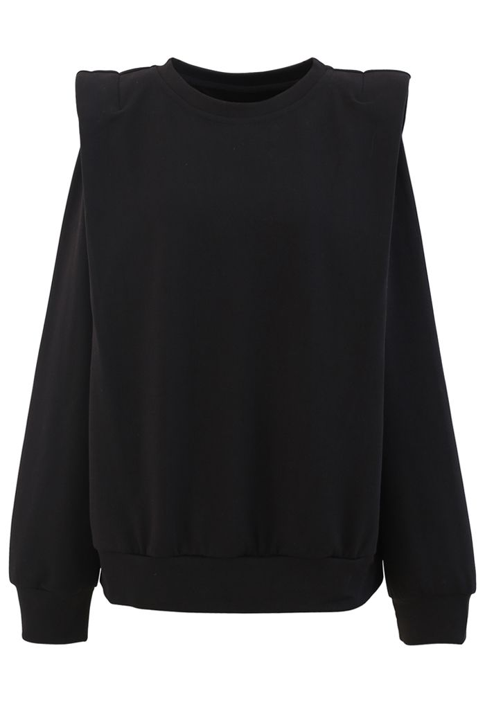 Padded Shoulder Long Sleeves Sweatshirt in Black