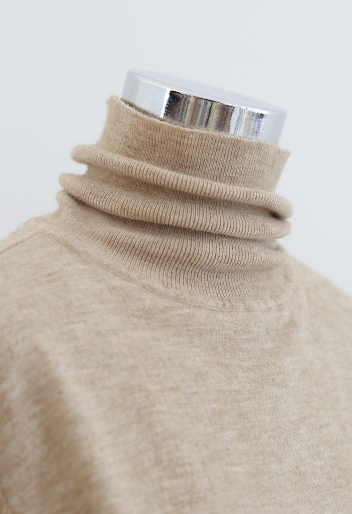 Turtleneck Soft Touch Ribbed Knit Sweater in Light Tan