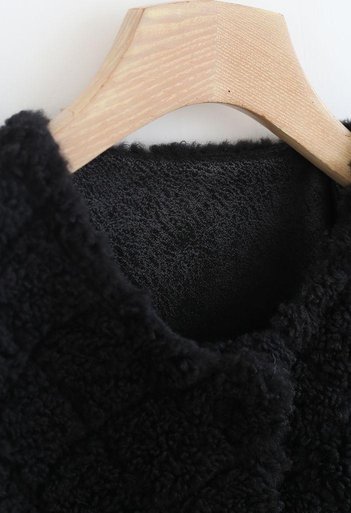 Diamond Faux Fur Coat with Flap Bag in Black