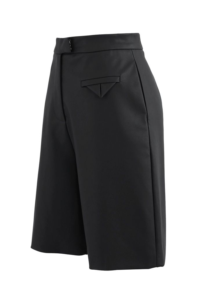 Faux Leather Bermuda Shorts in Black