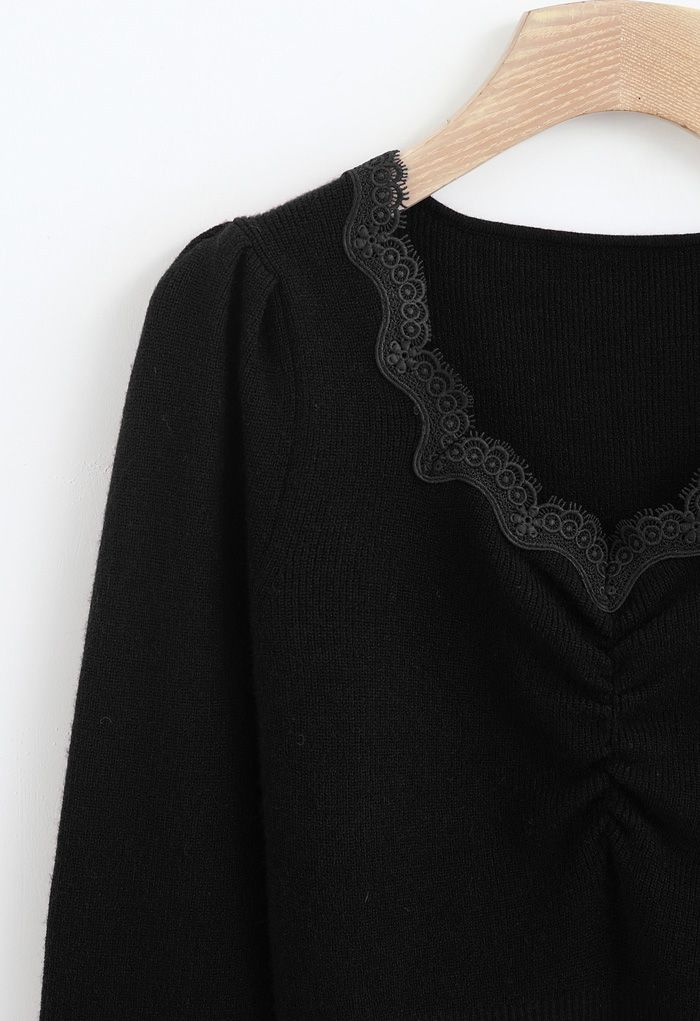 Sweetheart Lace Neck Knit Top in Black