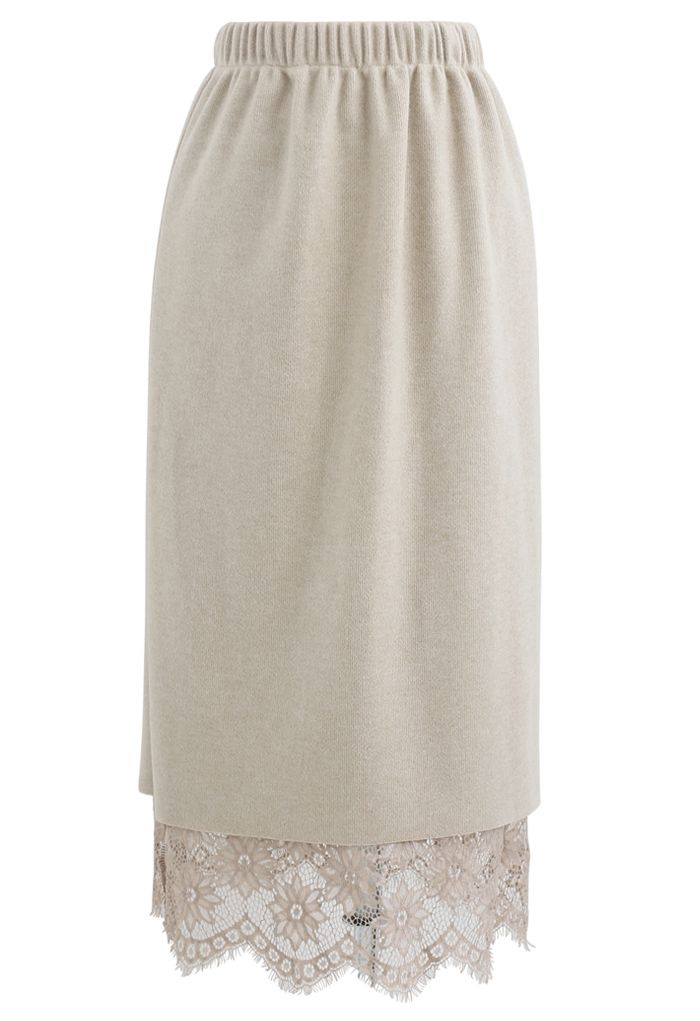 Reversible Soft Knit Lace Midi Skirt in Sand