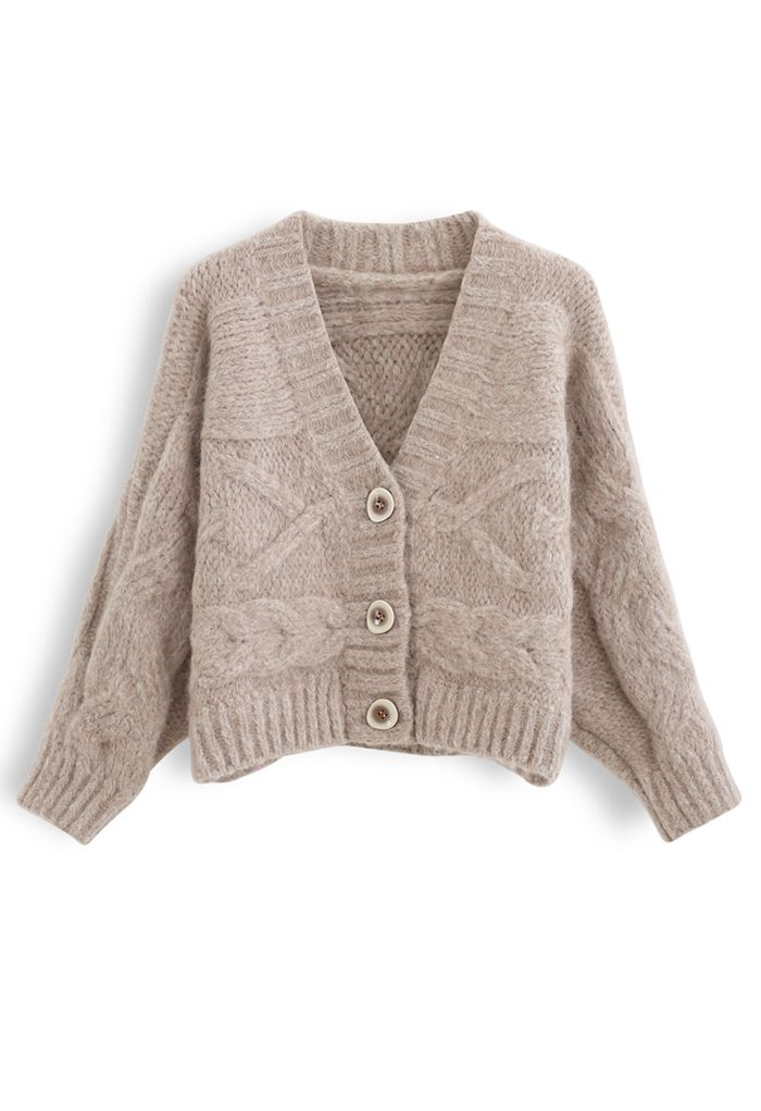 Cable Knit Chunky Buttoned Cardigan in Sand