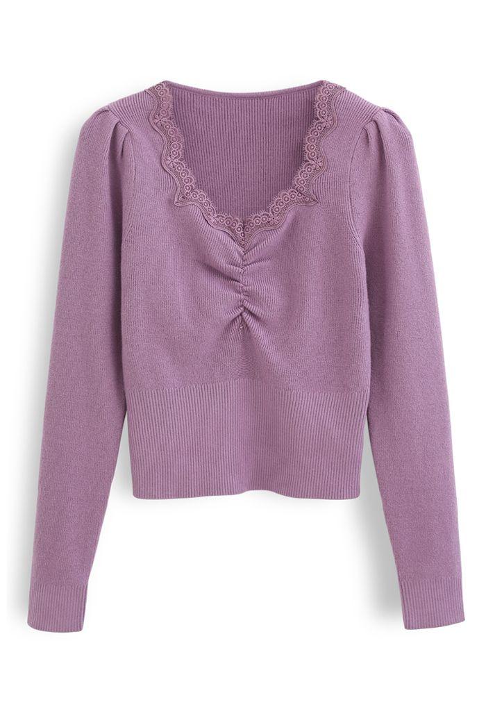 Sweetheart Lace Neck Knit Top in Purple