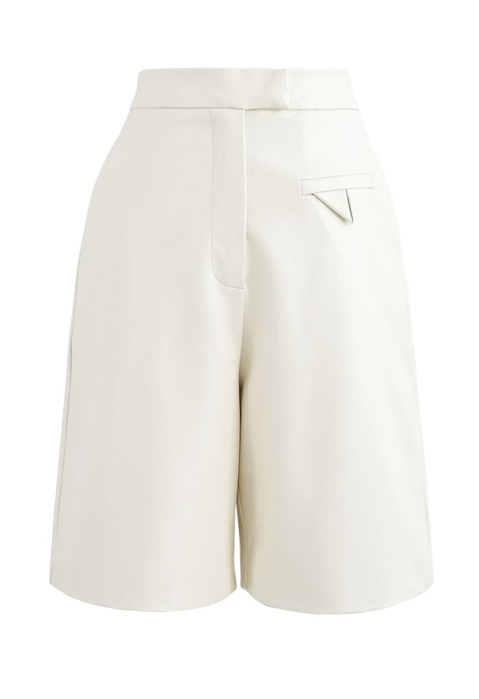 Faux Leather Bermuda Shorts in Ivory