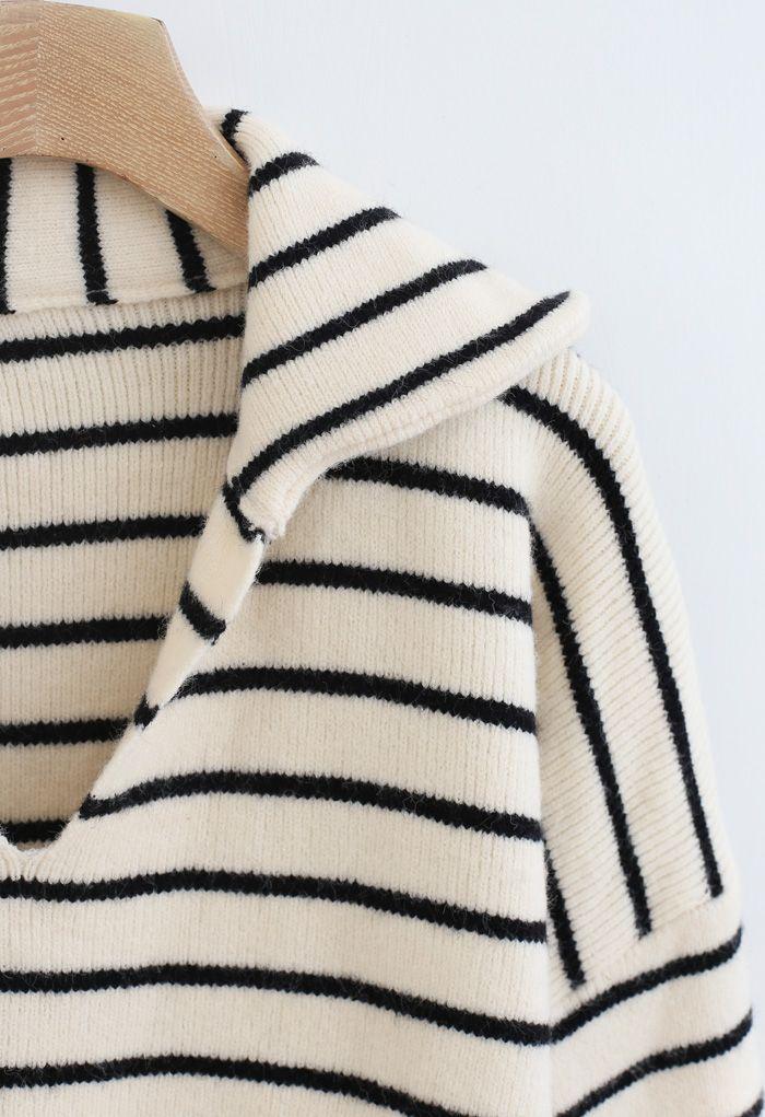 V-Neck Flap Collar Hi-Lo Sweater in Stripe