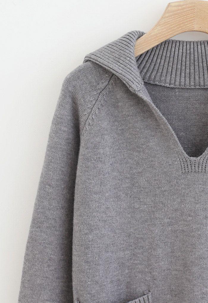 V-Neck Flap Collar Pocket Sweater in Grey