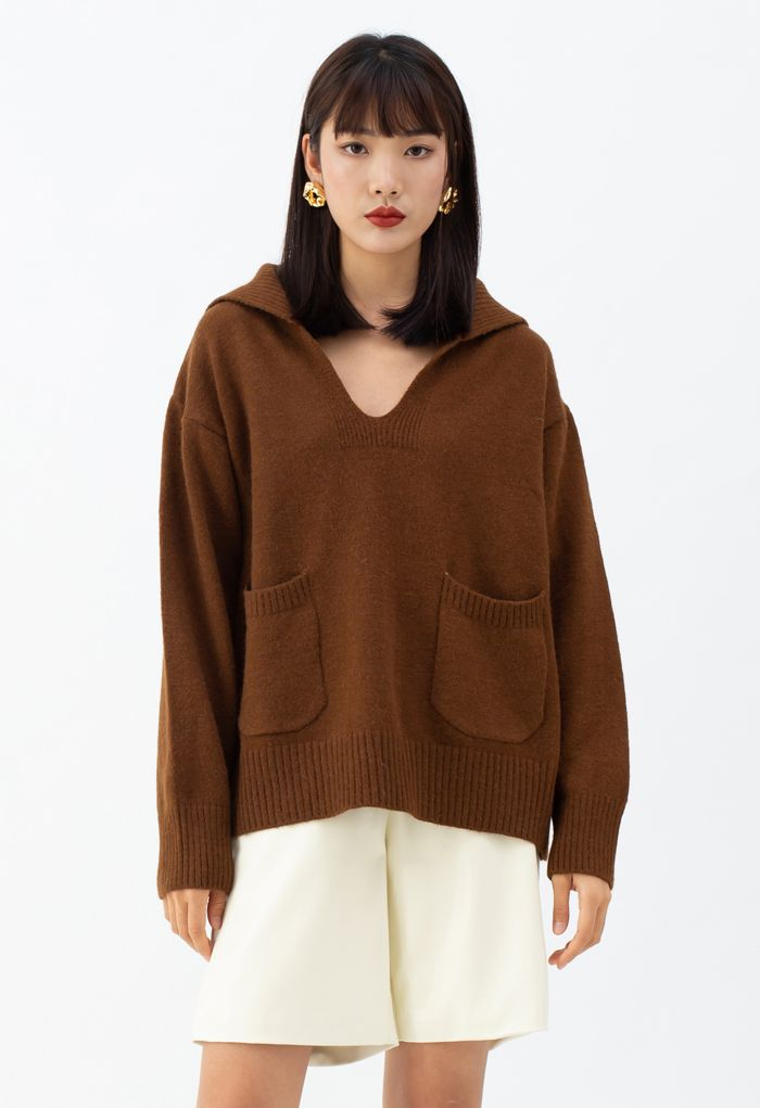 V-Neck Flap Collar Pocket Sweater in Brown