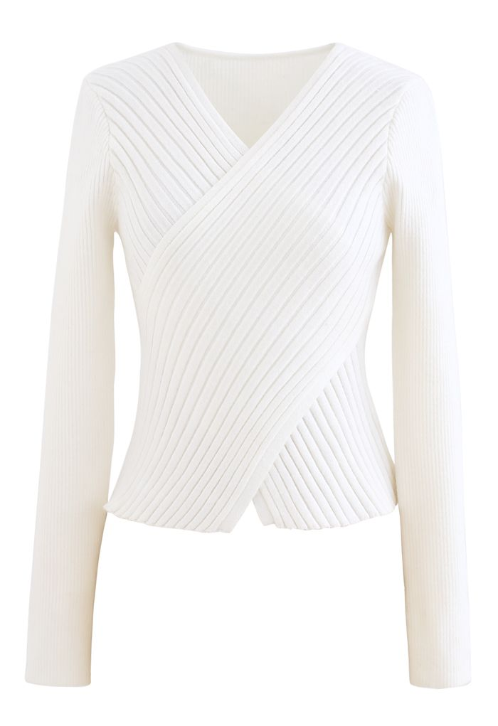 Crisscross Fitted Rib Knit Top in White
