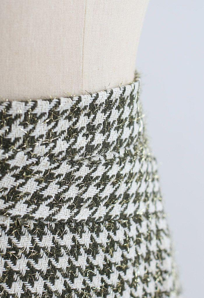 Houndstooth Tweed Asymmetric Mini Skirt in Green