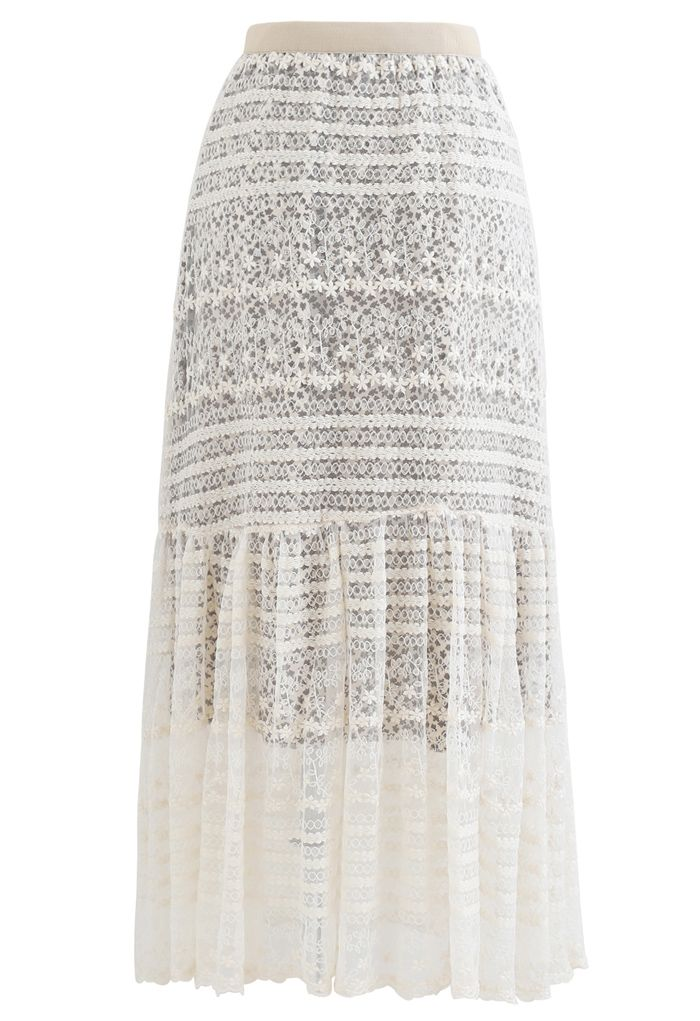 Floret Embroidered Lace Overlay Maxi Skirt in Cream