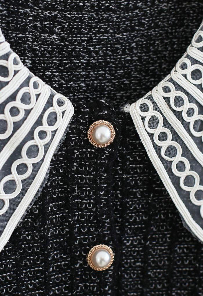 Organza Collar Button Down Chunky Knit Cardigan