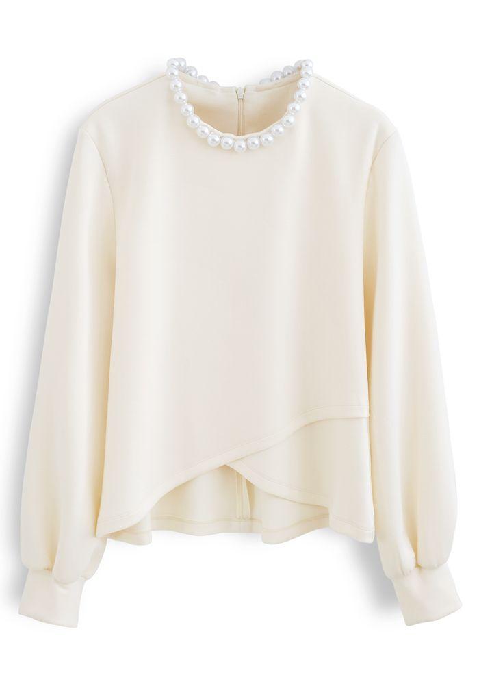 Pearly Neck Cross Wrap Hem Pullover in Cream
