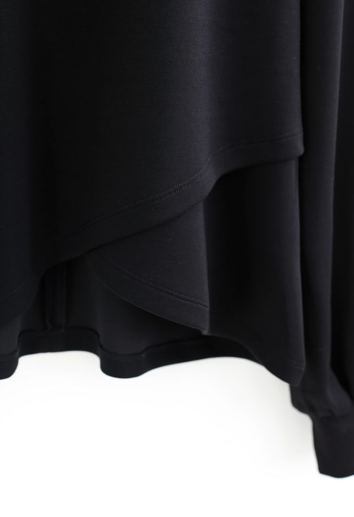 Pearly Neck Cross Wrap Hem Pullover in Black