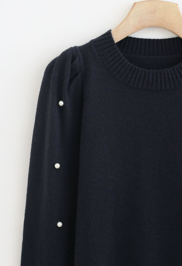 Pearl Trim Sleeves Ribbed Knit Sweater in Smoke