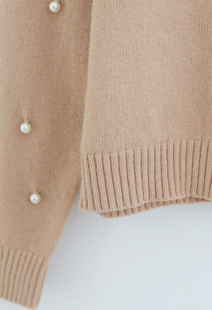 Pearl Trim Sleeves Ribbed Knit Sweater in Light Tan
